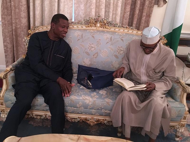 BREAKING: Pastor Adeboye visits Buhari in London