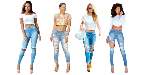 Sassy in ripped jeans and crop top