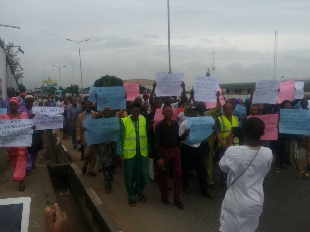 JUST IN: 5909 ex-airways' workers protest over delayed N78b pay off