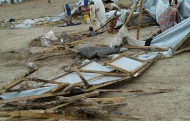 PHOTOS: 19 injured as rainstorm destroys IDP camps in Borno