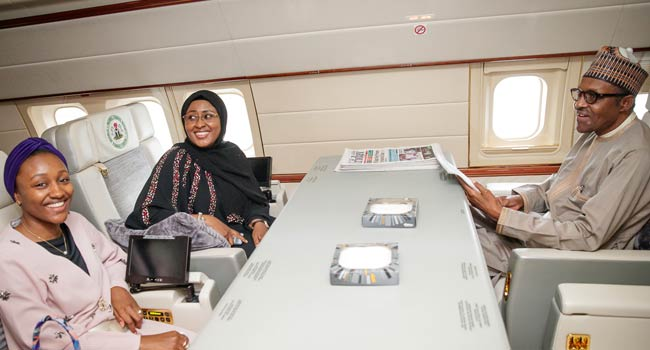 PHOTOS: Buhari travels with Aisha, daughter to China